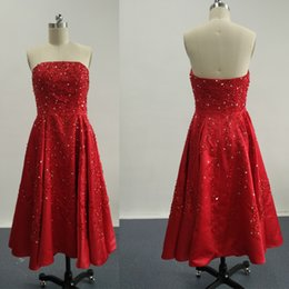 Wholesale Short Mini Prom Dress Empire - 2016 Burgundy Prom Dresses A Line Sequins Lace Prom Gowns with Strapless Mini Short Skirt Dhyz 01