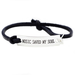 """Wholesale Wholesale Leather Stamps - """"Music Saved My Soul"""" Novelty Silver Stamped Music Lover Inspirational Bracelet Gifts For Boys Girls Lady Son fashional jewelry wholesale"""
