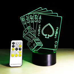 Wholesale Led Controller Living Room - Creative Poker 3D Colorful Gradients Night Light for Living Room Bedside Bedroom Decor Illumination 15 Keys LED remote controller