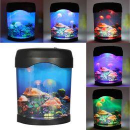 Wholesale Jellyfish Home Aquariums - Wholesale- Color Changing LED Night Light Jellyfish Fish Tank Sea World Aquarium Mood Lamp Home Decor Festival Party Decoration Nightlight