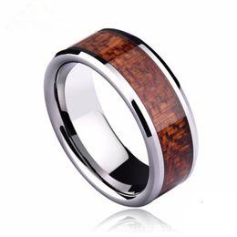 Wholesale wood inlay rings - Fashion Tungsten Carbide Ring Inlaid Wood Grain Wedding Bands Rings 8mm Men Women Tungsten Rings TTT-097