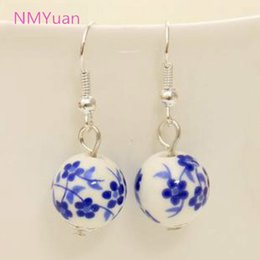 Wholesale National Wind - Personalized retro handmade porcelain ceramic national wind small domestic wholesale jewelry earrings for women