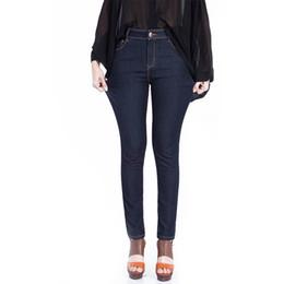 Wholesale Dark Blue Jeans For Women - Wholesale- Women Jeans Large Size Mid Waist Pencil Pants Female Dark Blue Denim Jeans Elastic Skinny Slim Jeans Pants For Women Girls 9722