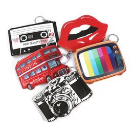 Wholesale Tv For Bus - interesting women's purse small leather coin purse lips bus tv crown pattern money purse keyring pounch for childern change bag