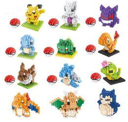 Wholesale Charmander Figure - 12 models Figures diamond Toys Pikachu Charmander Bulbasaur Squirtle Charizard Eevee Child Christmas gift 9+ Anime Building Blocks 8121-8132