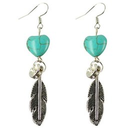 Wholesale Personalized Charm Pendant - 2018 charm DIY Gorgeous Bohemia turquoise feather Plated Bride Pendant earrings Personalized Women Jewelry 30Pairs  lot 11