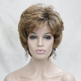Wholesale Wigs Blonde Short - 2017 new fashion health fashion elegant yellow blonde mix auburn short wavy cury ladies's synthetic wig