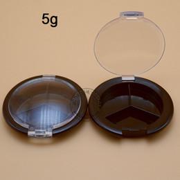 Wholesale Empty Eyeshadow Pans - Wholesale- (50pieces lot)Empty eyeshadow case round 3 pan Eyeshadow Makeup jar 5g 3 compartments Palette case