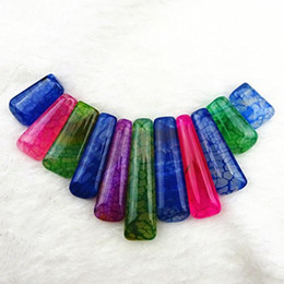 Wholesale Dragon Vein Necklace - 11pcs mixed colour Dragon Veins Agate Pendant Bead set