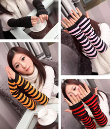 Wholesale Long Arm Gloves Ladies - Wholesale- Mutilcolor rainbow sweater lady girl Sexy Disco dance costume party lace fingerless long gloves arm warmer free shipping