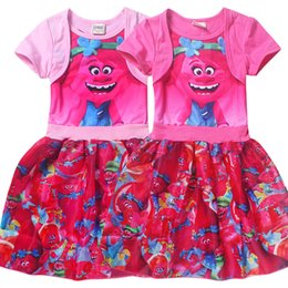 Wholesale Cartoon Character Costume Princess - Girls Trolls Poppy Branch Dress Cartoon Trolls Dresses Costumes Dresses Print Summer Short Sleeves Princess Cake Dresses Kids Clothes F401