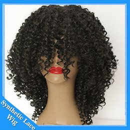 Wholesale Synthetic Afro Wigs - Glueless Heat Resistant Hair Natural Black Afro Kinky Curly Synthetic Lace Front Wig for Black Women African Natural Wigs