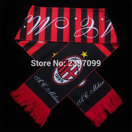 Wholesale Wholesale Soccer Scarves - Wholesale- New Italy soccer club badge souvenir football scarf  football teams fans gift AC Milan soccer Scarf
