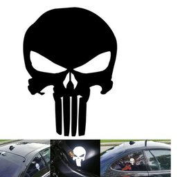 Wholesale mirrored plastic film - 9.5*14CM PUNISHER Skull Film Classic Car Stickers Motorcycle Decals Car Accessories Black Silver car-styling