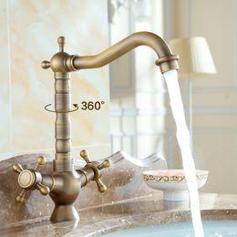 Wholesale Bathroom Faucet Plate - Dual Holder Art Brass Basin Faucet Antique Bathroom Kitchen Water Tap Mixer European Retro Torneira do banheiro