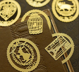 Wholesale Vintage Paper Clips - Cute 18K gold-plated bookmarks Cute Kawaii Gold Metal Bookmark Bookmarks Paper clip for book Korean Stationery Vintage Key Feather Angel