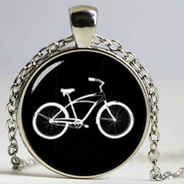 Wholesale Eastern Star Necklace - Retro black white bike necklace personalized men accessories 2017 minimalist style casual sports bicycle pendant jewelry