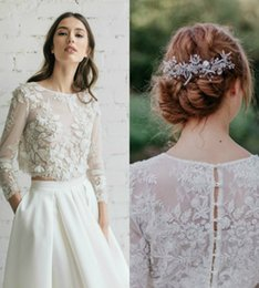 Wholesale Long Black Dress Accessories - Real Image Bridal Wraps Modest Lace Applique Long Sleeves Buttons Wedding Dresses Custom Made Elegant Bridal Accessories