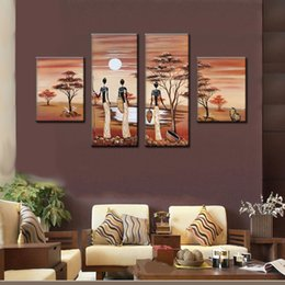 Wholesale Africa Figure - 100% Hand painted african tribe Wall Painting africa life landscape wall picture Home Decorative Art oil Painting brown canvas art no frame