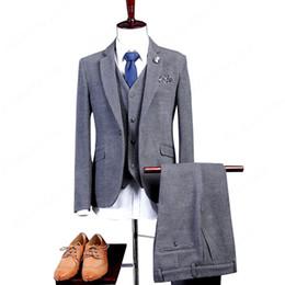 Wholesale Tailcoat Grey - Men Suits Slim Fit Best Men Grey Wool Groom Tuxedos Mens Wedding Suits 2017 Groomsmen Suits One Button Mens 3 Pieces Suit
