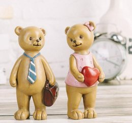 Wholesale Bear Marriage - American Village Creative Soft Pack Resin Crafts Gifts Retro Couples Bear Home Decorations Artificial Art Tool