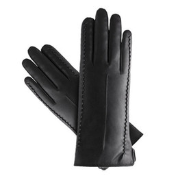 Wholesale Dresses Girlfriends - Wholesale- 16 women girl faux leather soft touch screen smart fashion show dress warm winter new year gift girlfriend gloves mittens