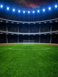 Wholesale Sports Backdrops - Football Field Backgrounds for Photo Studio Flash Bulb Green Grass Floor Children Kids Photography Backdrops Party Sport Game Props