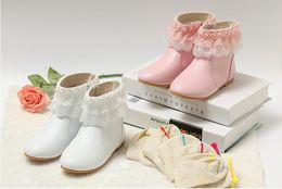 Bottes de velours rose en Ligne-Vente chaude bébé fille chaussure Velvet princesse bottes pour hiver ou printemps gris / rose est adapté pour 3-11ans vieille fille de fleur chaussure shopping