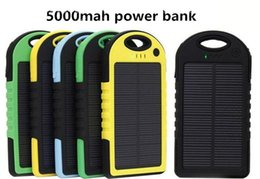 Wholesale Backup Power Ipad - NEW 5000mAh universal 2 USB Port Solar Power Bank Charger External Backup Battery With Retail Box For iPhone iPad Samsung cellpPhone charger