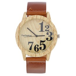 Wholesale Ladies Watches Big Numbers - Unisex mens women retro wood watches imitation wooden dial leather watch fashion big numbers casual ladies dress quartz wrist watches
