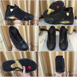 Wholesale Flat Soccer Ball - 2017 Retro 14 DMP Basketball Shoes For Men Black Gold 98 Deigning Moments Package Sneakers Sport Retros 14s Trainers Basket Ball Shoe 8-13