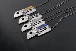 Wholesale Ch Wholesale - Wholesale 4 Colors Mini Necklace Folding Knife 440C 58HRC Titanium Blade Small EDC Pocket Knives Gift Knife