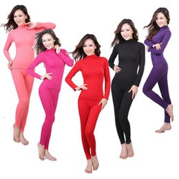 Wholesale Seamless Neck Warmers - Wholesale- New style 2017 Ladies seamless high neck corset body winter warm clothing long Johns thermal underwear set wholesale