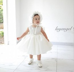 Wholesale White Dress Baptism Party - retail 0-2yr Newborn hot white girls' Baptism summer winter Dresses Christening Gown kids party Princess wedding Tutu dresses with hats