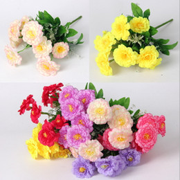 Wholesale Birthday Flower Bouquets - Artificial Silk Flower Bouquet Heads Vintage Wedding Home Decor Hight Quality Fake Flowers Decorative Party Birthday Decor Decoration