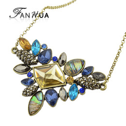 Wholesale Colorful Rhinestone Statement Necklaces - Wholesale-Fashion Colorful Rhinestone Necklaces Pendants Boho Flower Maxi Statement Necklace Antique Gold Plated Vintage Pendant Necklace