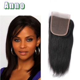 Wholesale Kinky Free Parting Lace Wig - 2017 ANNO Hair 120% Kinky Closure Malaysian Straight Closure Bleached Knots 7a Virgin Hair Lace Sexy Formula