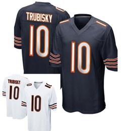 Wholesale Faster Games - Men's 10# Mitchell Trubisky 100% stitched Navy 2017 Draft Pick Game Jersey fast shipping