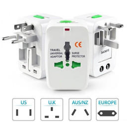 Wholesale Dual Usb Charger Wall Au - Dual USB International Wall Charger Travel World Universal AC Power Adapter Surge Protector With AU US UK EU Plug World Travel Adapter