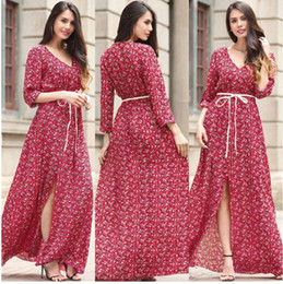 Wholesale Noble One Piece - Summer Dresses for Women Noble Elegant Patterned Blending Maxi Chiffon Divided One Piece Seven Sleeve V Neck Long Jumpsuit