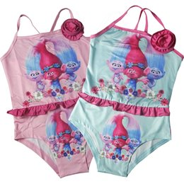 Wholesale Child Girls Wear Swimsuit - New style Trolls girls Cross-Back One-Piece Swimsuit Baby girl cartoon cute swimwear kids bathing suit children beach wear DHL fast shipping