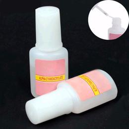 Wholesale Gel Labels - Wholesale-1 Pcs 10g BYB False Glue Nail Art Tips Glitter Acrylic Decoration with Brush false nail gel glue fake nails nail label