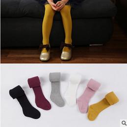 Wholesale Girls Candy Leggings - Children pantyhose 6 color girls stripe leggings 2017 spring new kids Candy color tights girls princess pants children cotton bottoms T1718