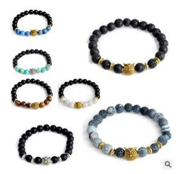 Wholesale Tiger Charms Wholesale - 110 styles 8MM chakra Tiger Eye Lion Head Bracelet Owl Buddha beads Bracelets Bangles Charm Natural Stone Bracelet yoga Jewelry