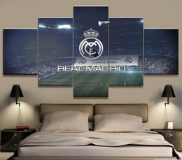 Wholesale Canvas Hd Paintings - 5 Panel Real Madrid La Liga Canvas Printed Painting For Living Picture Wall Art HD Print Decor Modern Artworks Football Poster