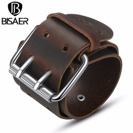 Wholesale 14k Jewerly - Wholesale-Handmade Fashion Wide Genuine Brown   Black Cuff Leather Bracelet & Bangles Braided Wristband Unisex Adjustable Men Jewerly