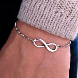 Wholesale Infinity Link Bracelet - Europe And The United States Foreign Trade Jewelry Punk Alloy Bracelet 8 Characters Superb Infinity Symbol Polished Bracelet