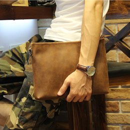 Wholesale Leather Envelopes For Men - Wholesale- New Casual Crazy horse PU leather Men's Envelope Clutch Business Men Clutch Bags Solt Leather Large Capacity Hand Bags for Male