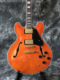 Wholesale Electric Archtop - In Stock Jazz Electric Guitar, Semi Hollow Body Archtop Guitar in Ruby Red Color, Flamed Maple Top,High quaity,Real photo shows