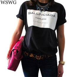 Wholesale Sell Spring Letter - Wholesale-Europe New Fashion Women T-shirt Hot Selling Ballinciaga T shirts Letter Shirt Spring Summer Tee Tops For Women Clothing 60224